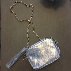 Silver metallic cross body bag